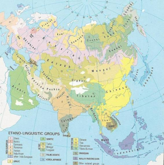 China On Map Of Asia.Ethnic Map Of Asia