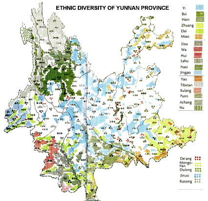 Ethno-linguistic map of Yunnan