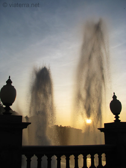 montjuic barcelona fountains in the sunset